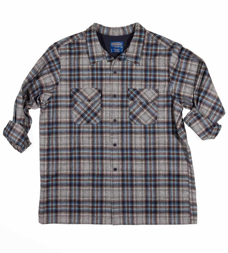 Pendleton Mens Western Shirt Long Sleeve Fitted Board Shirt - Blue/Grey