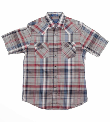 Pendleton Mens Short Sleeve Frontier Plaid Western Shirt - Blue/Grey (Closeout)