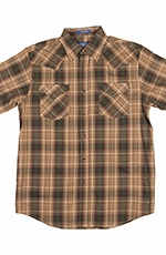 Pendleton Mens Short Sleeve Frontier Plaid Western Shirt - Tan/Green (Closeout)