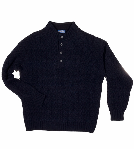 Pendleton Mens Button Placket Sweater - Navy