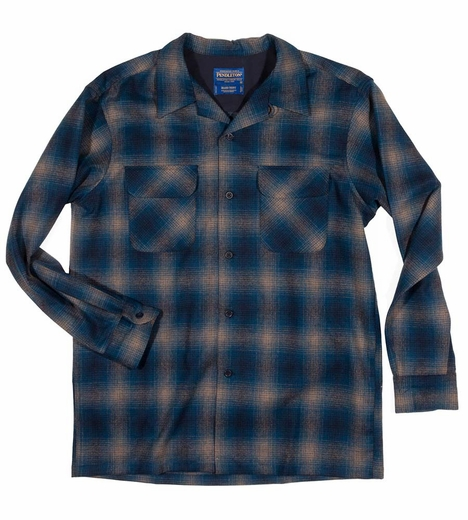 Pendleton Mens Long Sleeve Board Shirt - Blue/Black