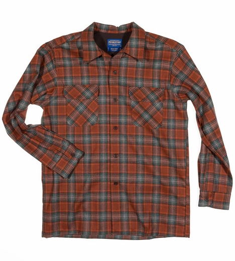 Pendleton Mens Long Sleeve Board Shirt - Brick/Copper