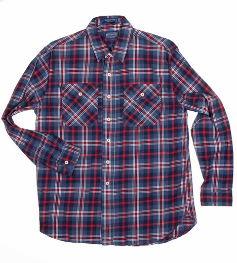 Pendleton Mens Long Sleeve Burnside Western Shirt - Blue/Navy