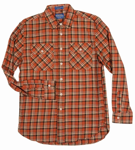 Pendleton Mens Long Sleeve Burnside Western Shirt - Orange/Bronze