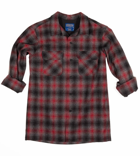 Pendleton Mens Long Sleeve Fitted Board Shirt - Red/Black (Closeout)