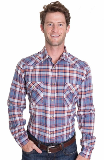 Pendleton Mens Long Sleeve Fitted Epic Western Shirt - Blue/Orange (Closeout)