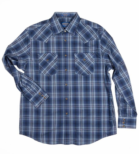 Pendleton Mens Long Sleeve Frontier Western Shirt - Blue/Navy