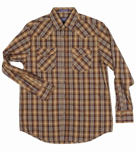 Pendleton Mens Long Sleeve Frontier Western Shirt - Bronze/Black