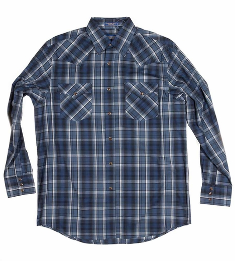 Pendleton Mens Long Sleeve Frontier Plaid Western Shirt - Navy/Blue (Closeout)
