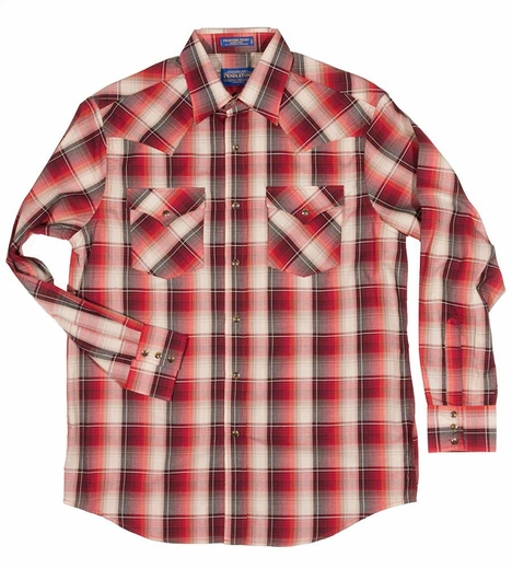 Pendleton Mens Long Sleeve Frontier Western Shirt - Red/Maroon (Closeout)