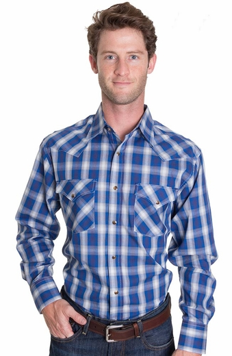 Pendleton Mens Long Sleeve Frontier Snap Western Shirt - Blue/Black