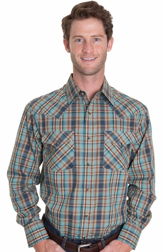 Pendleton Mens Long Sleeve Frontier Snap Western Shirt - Turquoise/Blue