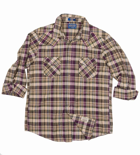 Pendleton Mens Long Sleeve Madras Epic Plaid Western Shirt - Purple