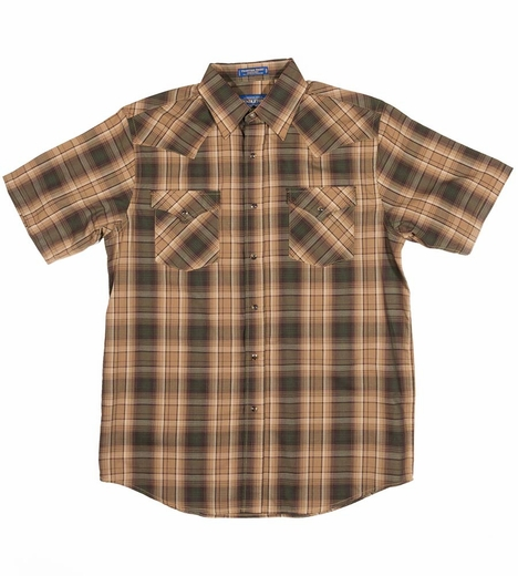 Pendleton Mens Short Sleeve Frontier Plaid Western Shirt - Tan/Green