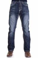 Petrol Mens Jasper Mid Rise Regular Fit Boot Leg Jeans - Dark (Closeout)