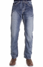 Petrol Mens Wyatt Mid Rise Relaxed Boot Leg Jeans - Medium (Closeout)