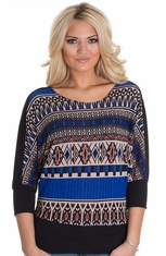 Petrol Women's Drape Sleeve Aztec Top - Blue (Closeout)