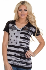 Petrol Women's Feathers Flag and Lace Top - Black