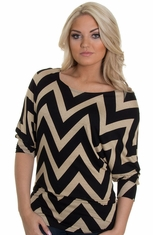 Petrol Women's Missy Revved Up Chevron Top - Black