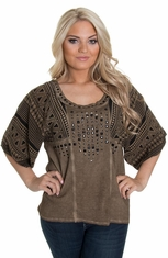 Petrol Women's Missy Studded Aztec Top - Taupe (Closeout)