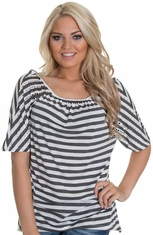Petrol Womens Double Take Stripe Top