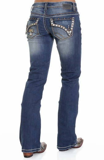 Petrol Womens Sadie Silver Leather Embellished Bootcut Jeans - Medium
