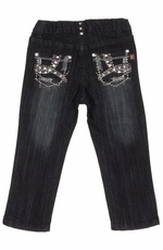 Pop Jeans Girls Bling Abstract Pockets with Metallic Stitching Jeans - Black
