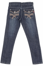 Pop Jeans Girls Bling Flap Pocket Jeans with Heavy Stitching - Stonewash