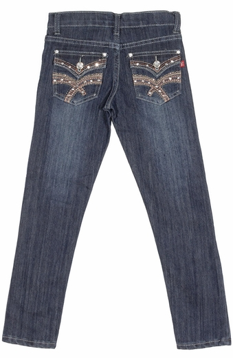 Pop Jeans Girls Bling Flap Pocket Jeans with Heavy Stitching - Stonewash (Closeout)