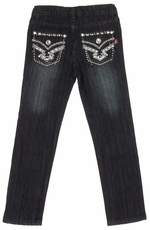 Pop Jeans Girls Bling Flap Pocket Jeans with Metallic Stitching - Black