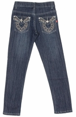 Pop Jeans Girls Bling Horseshoe Flap Pocket Jeans - Stonewash