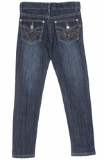 Pop Jeans Girls Bling Metallic Stud Flap Pocket Jeans - Stonewash