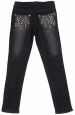 Pop Jeans Girls Bling Swirl Pocket Jeans - Black (Closeout)