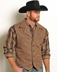 Powder River Men's Montana Wool Heather Stripe Vest - Brown