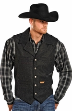 Powder River Men's Montana Wool Vest - Charcoal Black