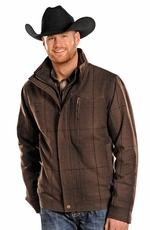 Powder River Men's Wool Plaid Coat - Brown