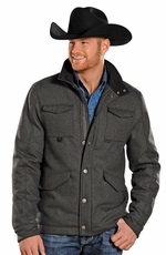"Powder River Mens ""Lyndon"" Corded Wool Coat - Grey"