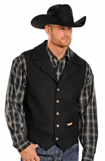 "Powder River Mens ""Idaho"" Corded Wool Vest - Black (Closeout)"