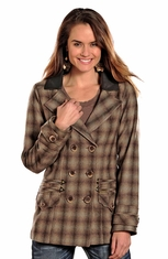Powder River Women's Ada Plaid Wool Coat - Brown (Closeout)