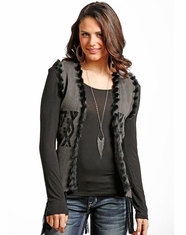 Powder River Women's Aztec Fur Sweater Vest - Charcoal