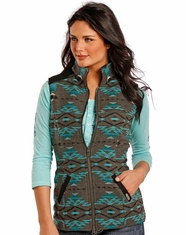 Powder River Women's Aztec Print Wool Vest - Grey