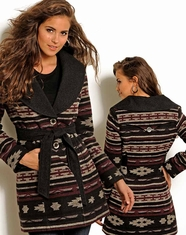 Powder River Women's Aztec Wool Coat - Black