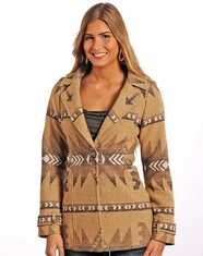 Powder River Women's Aztec Wool Coat - Tan