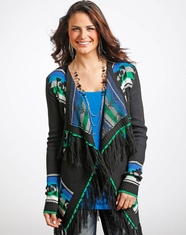 Powder River Women's Fringed Aztec Cardigan - Black