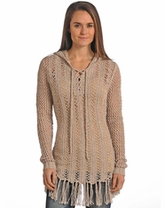 Powder River Women's Hooded Lace Up Fringe Sweater - Taupe (Closeout)