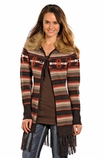 Powder River Women's Knit Fringe Cardigan - Brown