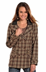 Powder River Women's Ada Plaid Wool Coat - Brown