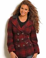 Powder River Women's Plaid Wool Coat - Red