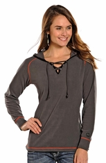 Powder River Women's Pullover Lace Up Hoodie - Grey (Closeout)