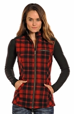 Powder River Women's Reversible Wool Vest - Red